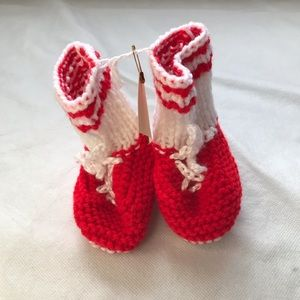 2/$15 Homemade Knit Sneaker Booties red and white